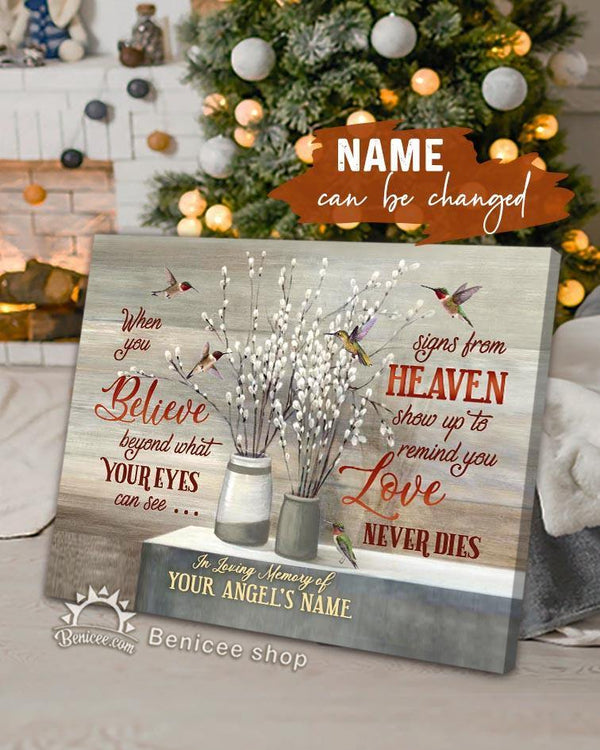 Personalized Memorial Gift Canvas Love Never Dies Hummingbirds Version Top 5 BENICEE-canvas-Benicee