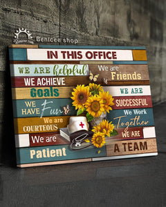 BENICEE Top 5 Nurse Gift Wall Art Canvas - In This Office We Are A Team Sunflowers version-Canvas Print-Benicee