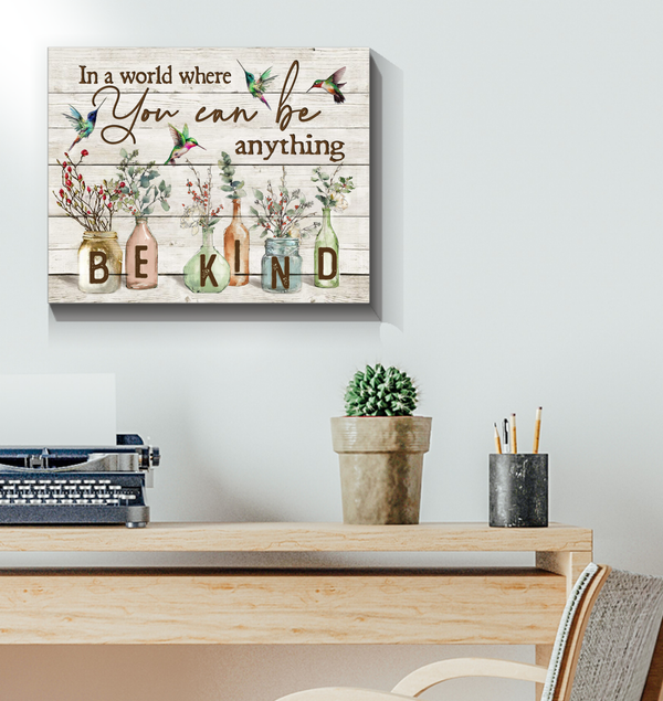 BENICEE Hippie BE KIND Hummingbird & Flowers Wall Art Canvas-Canvas Prints-Benicee