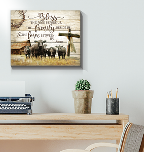 Canvas - Farm - Black Angus - Bless our home - Benicee