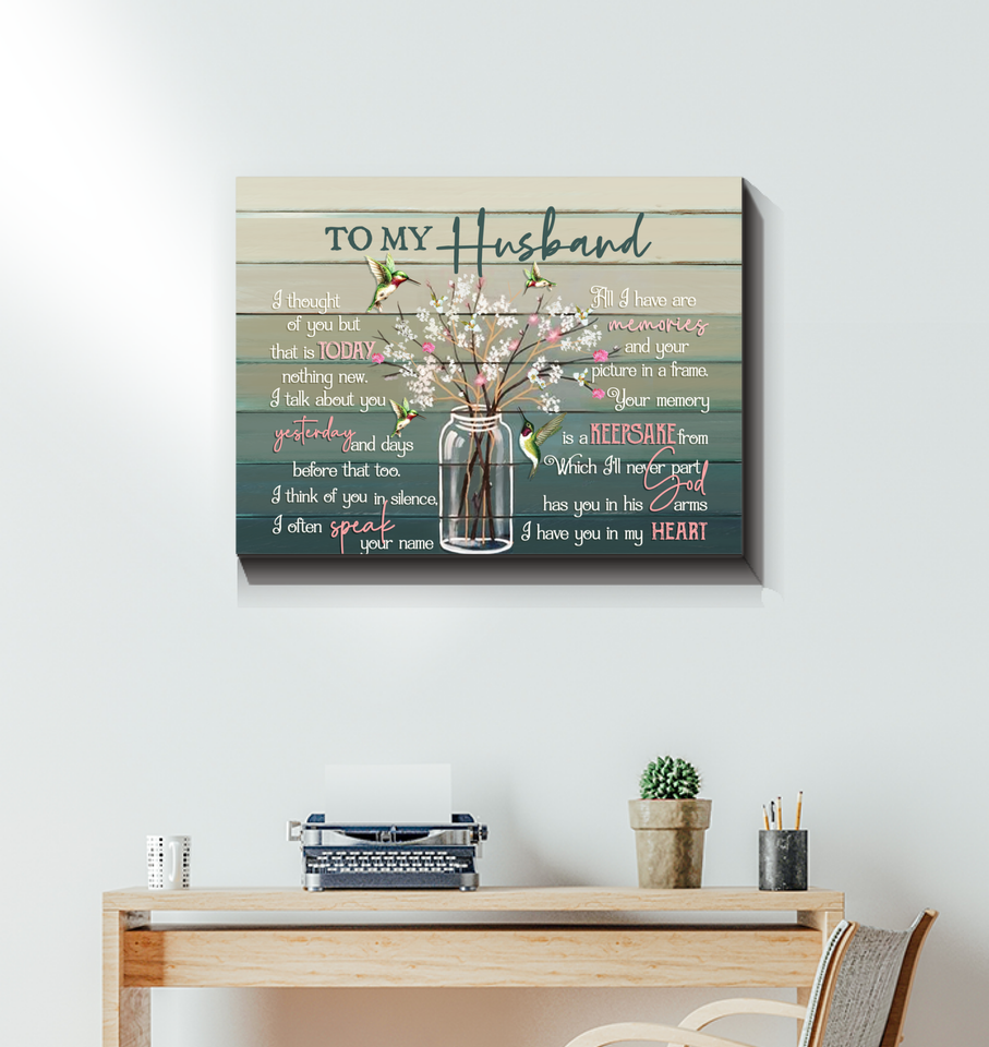 Memorial Gift Canvas Art - Heaven To My Husband I Have You In My Heart Hummingbirds Version Top 10 BENICEE-Canvas Prints-Benicee
