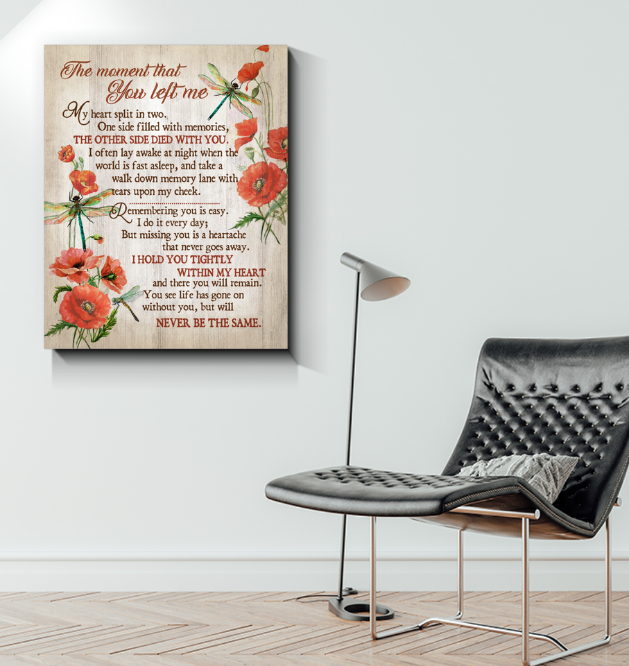 Memorial Gift Canvas - Heaven Dragonflies The moment That You Left Me Red Poppy Top 5 BENICEE-Canvas Prints-Benicee