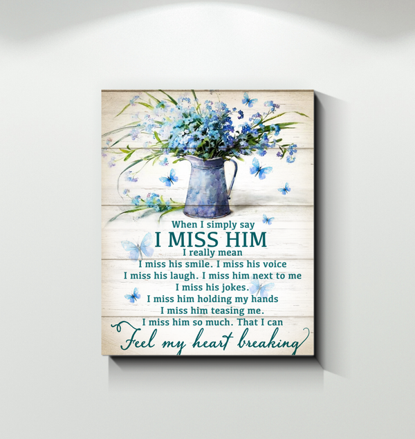 Memorial Gift Canvas - Heaven In Our Home Butterflies I Miss Him Top 5 BENICEE-Canvas Prints-Benicee