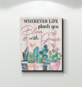 Canvas - Hippie - Bloom with grace - catus - Benicee