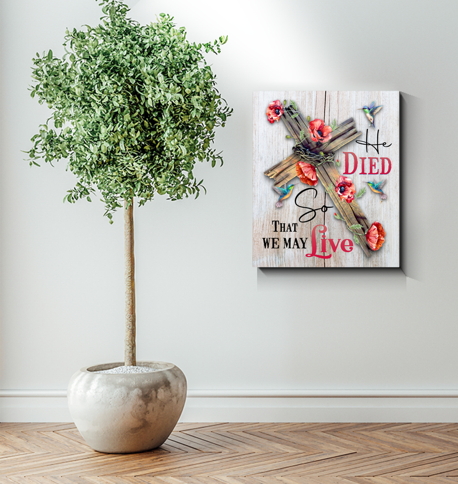 Memorial Gift Canvas Art Hummingbirds And Poppy Flowers He Dies So We May Live Copy Top 10 BENICEE-Canvas Prints-Benicee