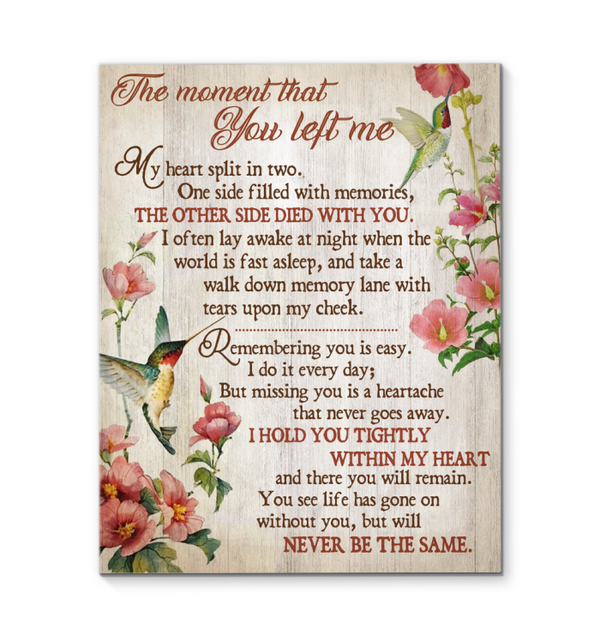 Memorial Gift Canvas - Hummingbirds The moment that you left me Top 5 BENICEE-Canvas Prints-Benicee