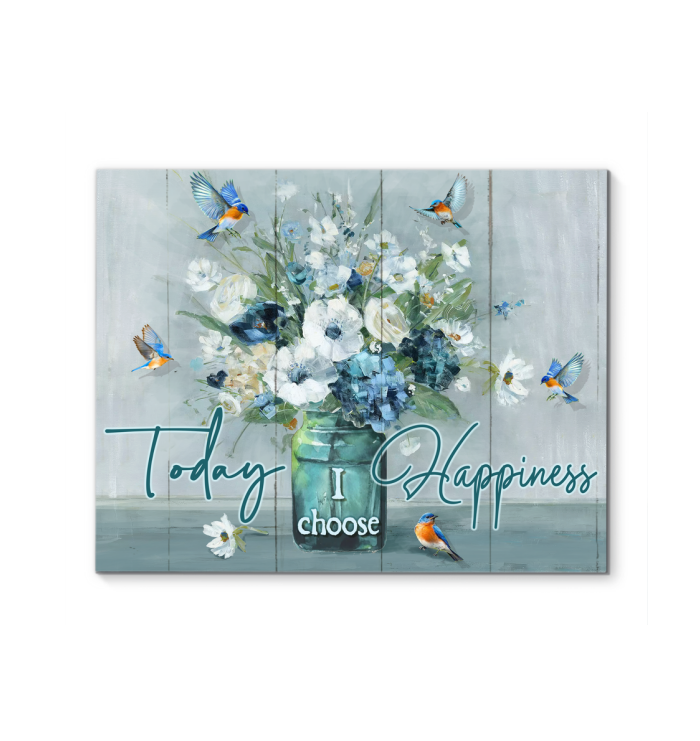 Canvas - Hippie - Today I choose Happiness - Bluebirds & Flowers - Benicee