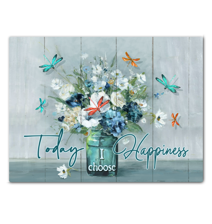Canvas - Hippie - Today I choose Happiness - Dragonflies & FLowers - Benicee