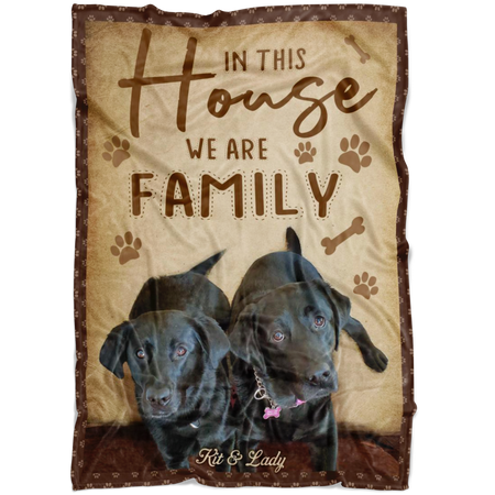 BENICEE Top 5 Personalized Dog's Name & Photo Blanket - In This House We Are Family-Blankets-Benicee