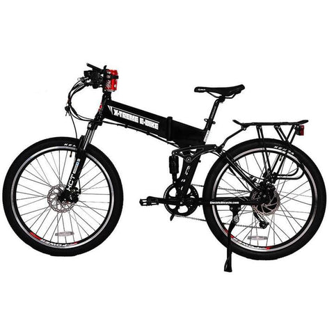 X-Treme Baja 48 Volts 500 Watts 8 Amp Hours 26 Inch Tires Dual Suspension Folding Electric Mountain Bike