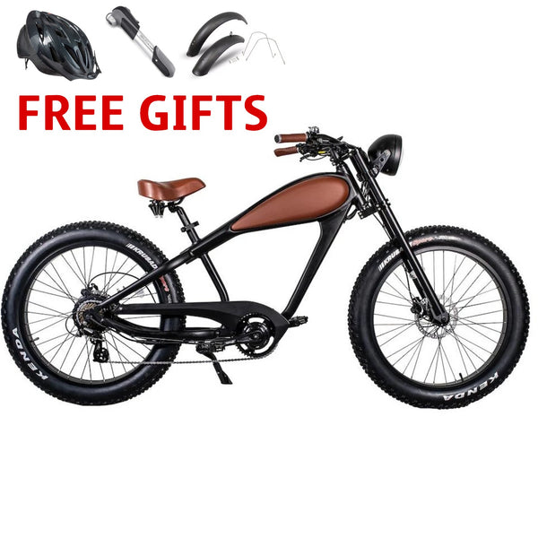 Civi Cheetah Cafe Racer 48 Volts 750 Watts 17.5 Amp Hours 26 Inch Fat Tires Vintage Style Electric Cruiser Bike