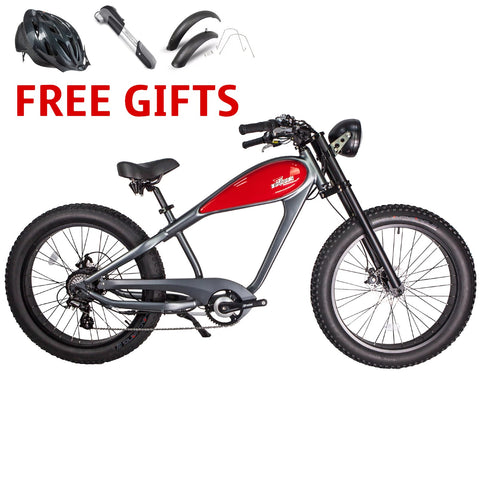 Civi Cheetah Gray / Red 48 Volts 750 Watts 17.5 Amp Hours 26 Inch Fat Tires Vintage Style Electric Cruiser Bike