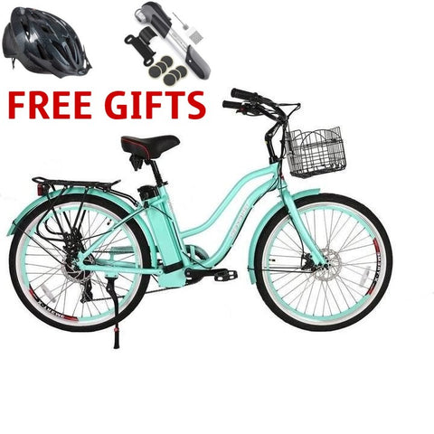 X-Treme Malibu Beach Elite Max 36 Volts 350 Watts 10 Amp Hours 26 Inch Tires Step Through Electric Cruiser Bike