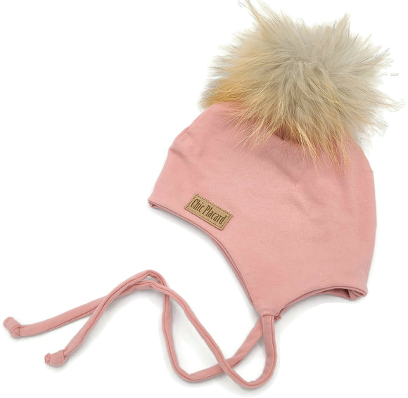 Tuque mi-saison cache-oreille rose antique (17 po)