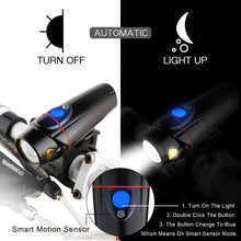 Load image into Gallery viewer, Bike Headlight and 2 LED Rear Bike Tail Lights Set