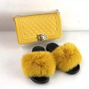 Yellow Matching Fur slippers and Bag👝 🌼💛💛
