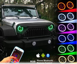 RGB Halo 7 Inch Led Headlight Plug And Play Bluetooth  Angel Eyes for Jeep Wrangler CJ JK