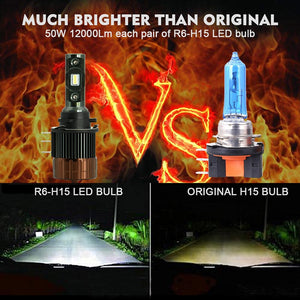 H15 LED Can-bus Day Running Lights Car Headlight 12000Lm DRL for BMW/ Mercedes/Audi