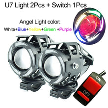 Load image into Gallery viewer, U7 Motorcycle LED Headlights 125w  auxiliary head lamp 5-colors