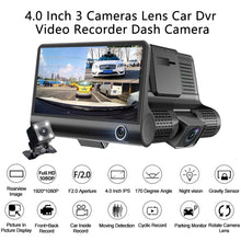 Load image into Gallery viewer, 4'' Three Way Car DVR FHD Three Lens Video Recorder Camera 170 Wide Angle Dash Cam G-Sensor And Night vision Camcorder