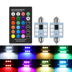 LED 31mm 36mm 39mm 41mm RGB Dome Light bulb 12V with Remote Control