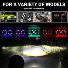 Load image into Gallery viewer, RGB Halo 7 Inch Led Headlight Plug And Play Bluetooth  Angel Eyes for Jeep Wrangler CJ JK