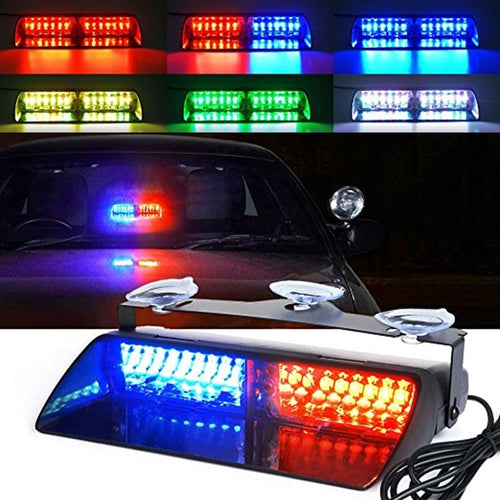Police Lights Car LED Strobe Light Red/Blue Amber/White Signal Lamps Windshield Warning Light 12V