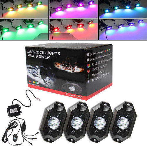 Led Rock Lights 4Pcs with Can-bus and Remote Control for 4X4 Off Road