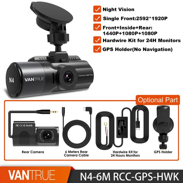 3 Channel N4 Dash Cam 4K Camera Vehicle Video Recorder Dashcam Front and Rear Night Vision DVR