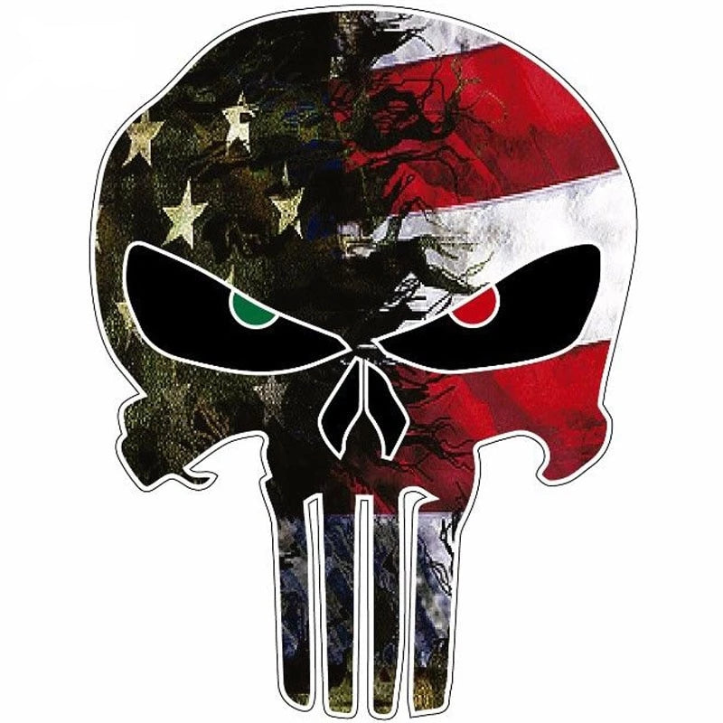 USA Flag Camo Small Punisher Skull Reflective Car Stickers Motorcycle Decal