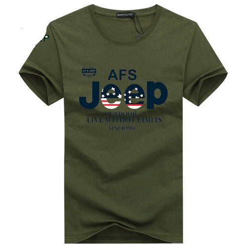 JEEP Brand T Shirt Men Cotton Short sleeve Army Tactical  Plus Size S-5XL
