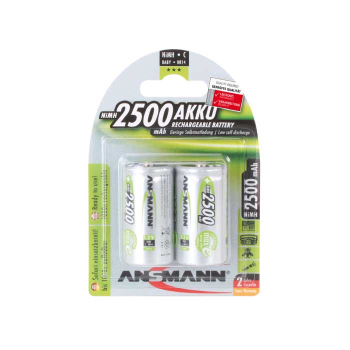 Ansmann MaxE C NiMH 2500mAh Rechargeable Battery Pack of 2
