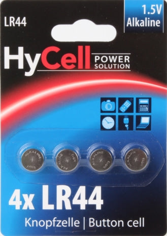 HyCell LR44/A76 Button Cell Battery Card of 4