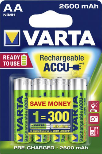 Varta Accu AA NiMH 2600mAh Rechargeable Battery Pack of 4