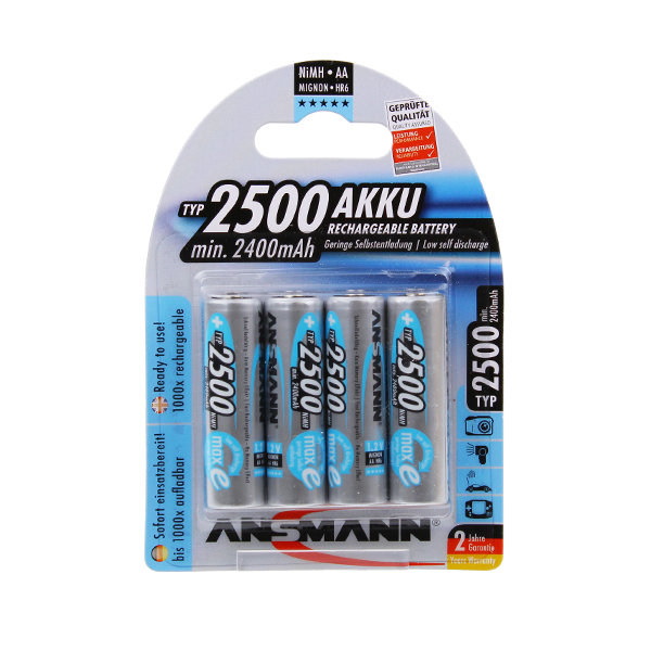 Ansmann Pre-Charged AA 2500mAh Rechargeable Batteries