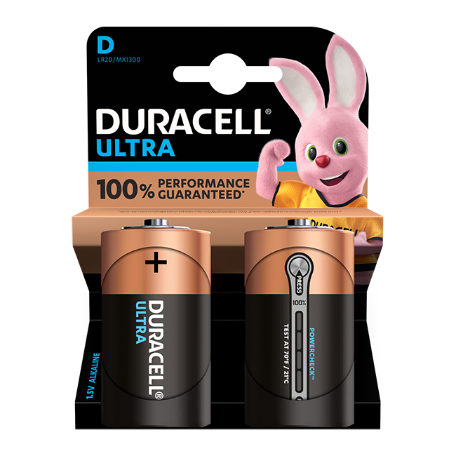 Duracell Ultra Power D / LR20 Batteries Pack of 2