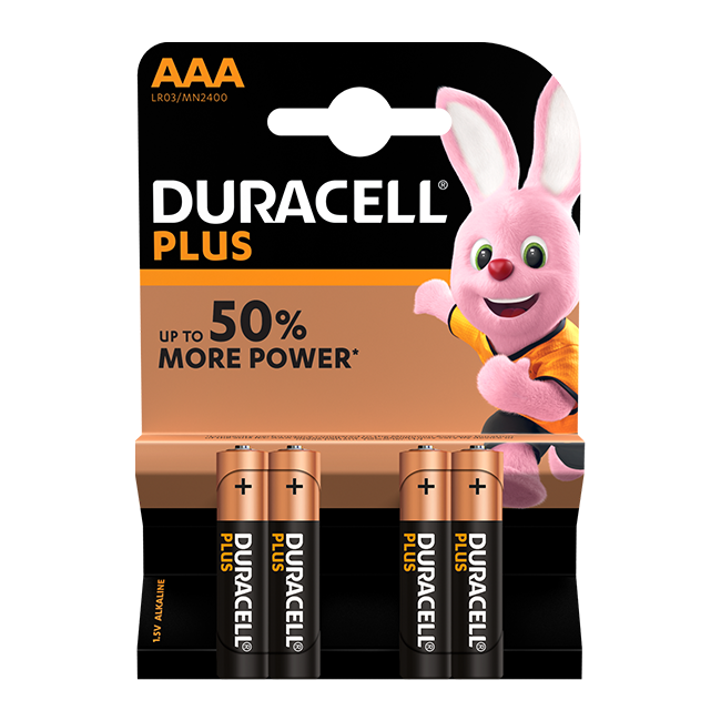 Duracell Plus Power AAA / LR03 Batteries Pack of 4