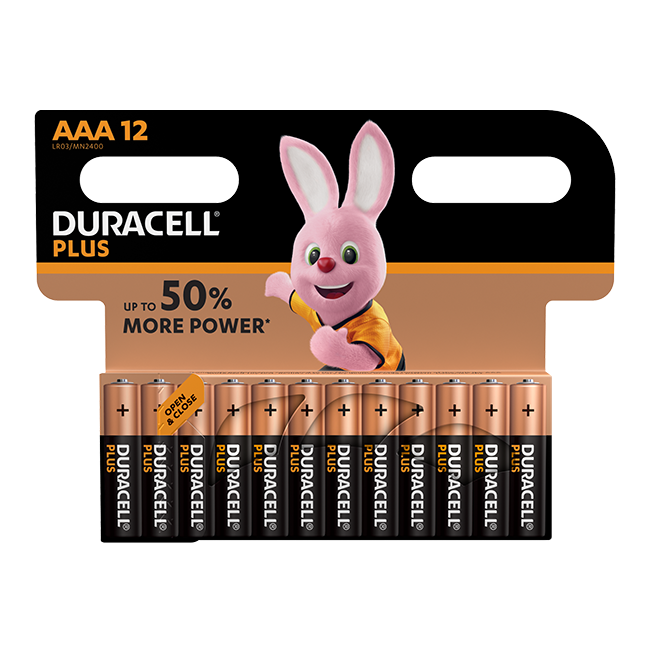 Duracell Plus Power AAA / LR03 Batteries Pack of 12