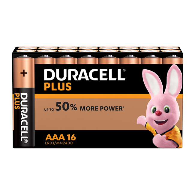 Duracell Plus Power AAA / LR03 Batteries Pack of 16