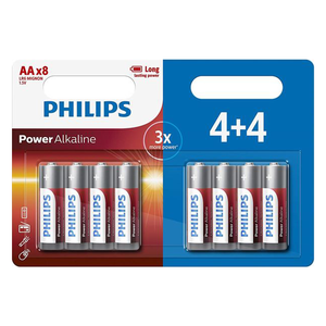 Philips Power AA Batteries - 4+4 FREE