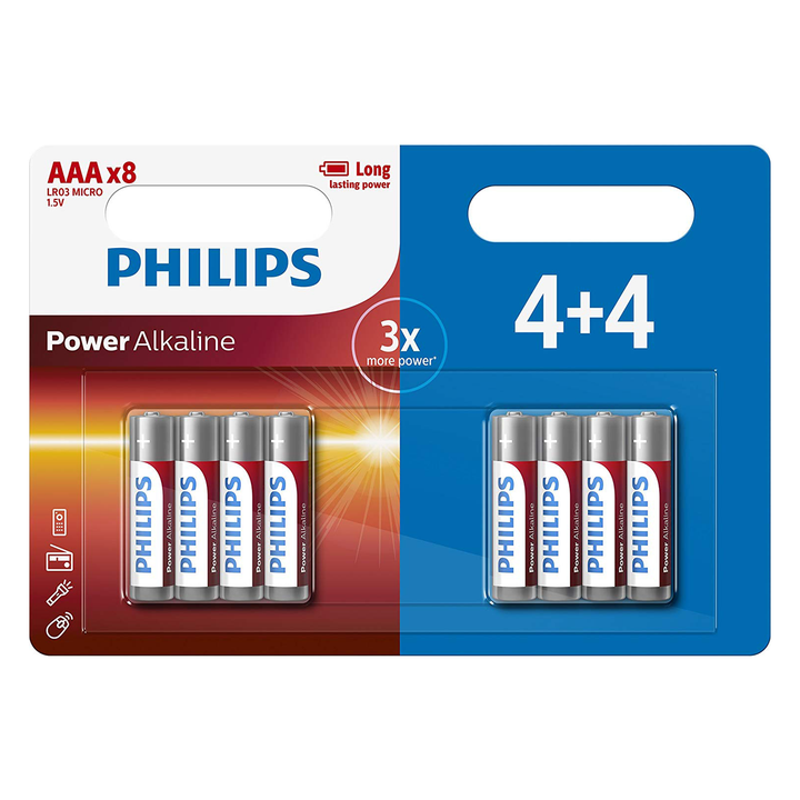 Philips Power AAA Batteries - 4+4 FREE
