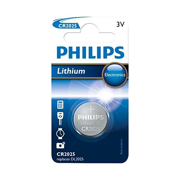 Philips CR2025 3V Lithium Coin Cell Battery