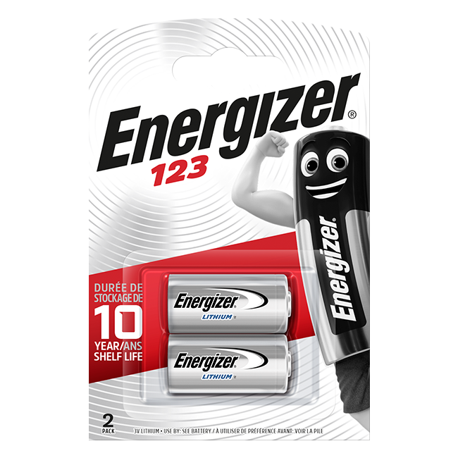 Energizer CR123A Lithium Photo Batteries Pack of 2