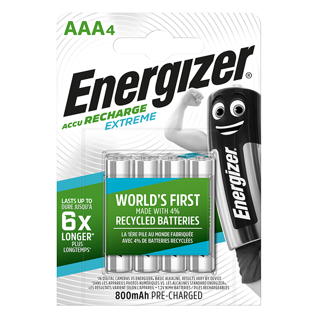 Energizer Extreme AAA 800mAh Rechargeable Batteries