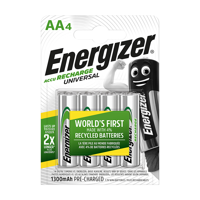 Energizer Universal 1300mAh AA Rechargeable Batteries