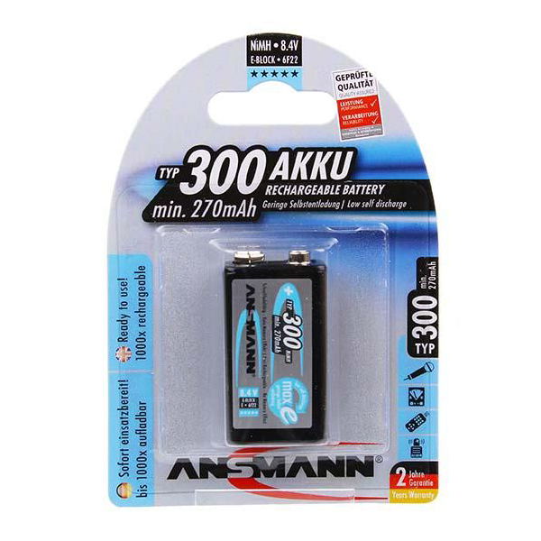 Ansmann MaxE 9V NiMH 300mAh Rechargeable Battery