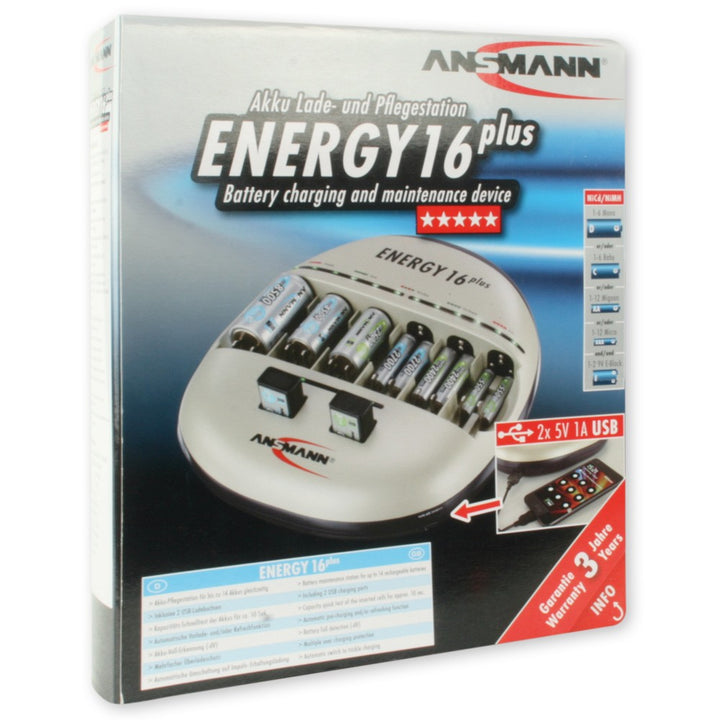 Ansmann Energy 16 Plus Charger - AA/AAA/C/D/9V