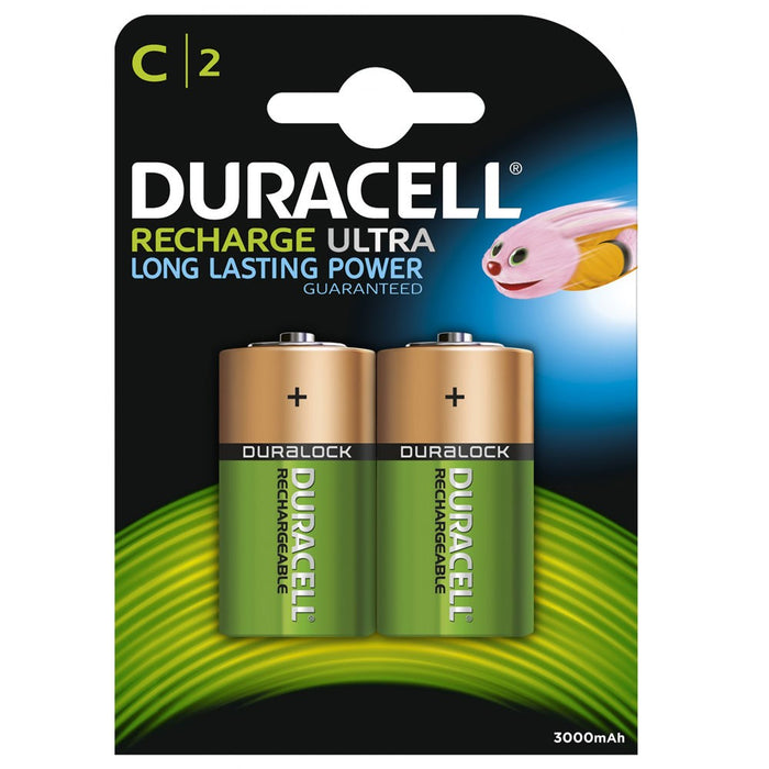 Duracell Recharge Ultra C 3000mAh Rechargeable Battery Pack of 2