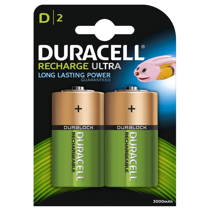 Duracell Recharge Ultra D 3000mAh Rechargeable Battery Pack of 2