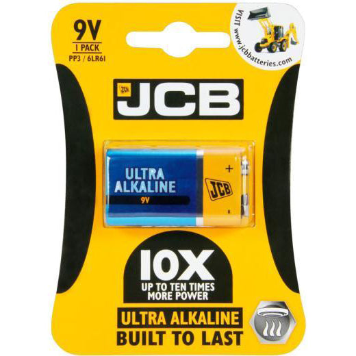 JCB Ultra Alkaline 9V PP3 Battery